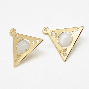 Cat Eye Pendants, with Brass Findings, Triangle, WhiteSmoke, Real 18K Gold Plated, 16.5x16x6mm, Hole: 1mm(KK-S347-090)