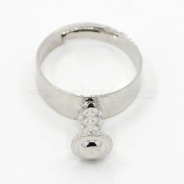 Brass European Finger Ring Base Findings, Platinum, 17mm, Hole: 4mm(KK-D338-P)