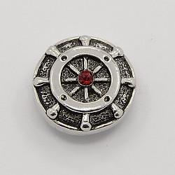 Sans cadmium & sans nickel & sans plomb, Boutons en alliage de zinc en alliage antique, rond plat barre sculpté boutons bijoux snap, café, 20x9 mm; bouton: 3 mm(SNAP-M003-16A)
