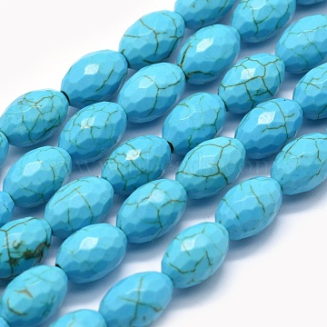 12mm Rice Synthetic Turquoise Beads