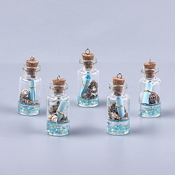 Glass Wishing Bottle Pendant Decorations, with Resin & Paper & Shell, with Cork Stopper and Iron Findings, Light Blue, 40~42x16mm, Hole: 2mm(X-GLAA-S181-02B)