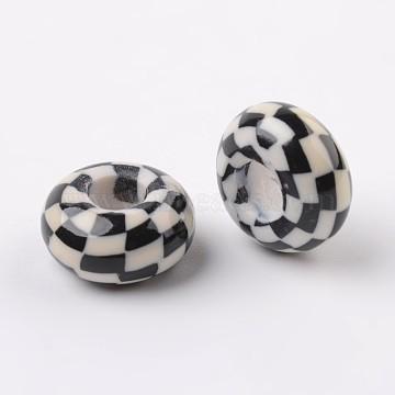 Handmade Polymer Clay Enamel European Beads, Large Hole Rondelle Beads, Black, 14x7.5mm, Hole: 5.5mm(X-FPDL-J002-02)
