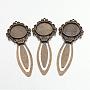 Tibetan Style Bookmark Cabochon Settings, Cadmium Free & Nickel Free & Lead Free, Antique Bronze, Tray: 20mm; 81x31x4mm