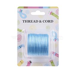 Chaîne de cristal élastique plat, fil de perles élastique, pour la fabrication de bracelets élastiques, Bleu ciel, 0.8 mm; 60 m / rouleau(X-EW-O001-01B)
