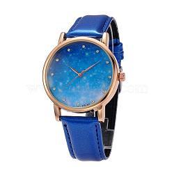 Женские кварцевые нержавеющей стали звездное небо наручные часы, с ПУ кожаный ремешок для часов, синие, 240x18~20 мм; голова часов : 47x42x11 мм; лицо часов : 36 мм(WACH-O004-03B)
