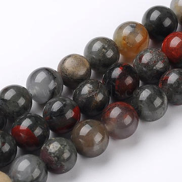 Natural African Bloodstone Beads Strands, Heliotrope Stone Beads, Round, 12mm, Hole: 1mm; about 32pcs/strand, 15.74inches(G-L383-06-12mm)