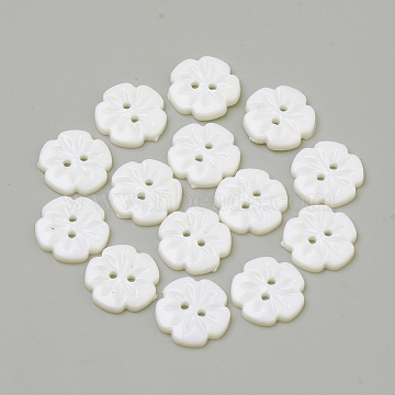2-Hole Acrylic Buttons, Flower, White, 15x2.5mm, Hole: 1.5mm(X-BUTT-Q037-08L)