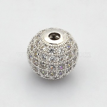 Brass Micro Pave Grade AAA Cubic Zirconia Beads, Cadmium Free & Nickel Free & Lead Free, Round, Clear, Platinum, 6mm, Hole: 1mm(KK-E711-116-6mm-P-NR)