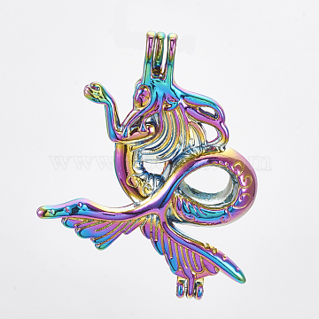 Plated Alloy Bead Cage Pendants, Mermaid, Colorful, 41.5x33x10mm, Hole: 3x3.5mm; Inner Measure: 8mm(X-PALLOY-S119-061)