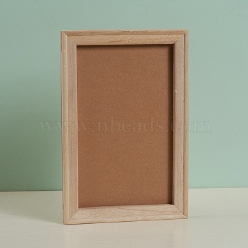 Unfinished Wooden Picture Frames, For DIY Light Clay Crafts & Painting Projects, Rectangle, BurlyWood, 30x20x1.8cm(DIY-G019-05)