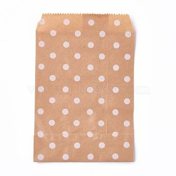 Kraft Paper Bags, No Handles, Food Storage Bags, BurlyWood, Polka Dot Pattern, 15x10cm(CARB-P001-D01-02)
