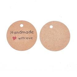 Affichage de bijoux étiquettes de prix de papier kraft, rond avec mot fait main avec amour, Sandybrown, 45x0.4mm, trou: 4.5 mm; environ 50 PCs / sachet (CDIS-WH0009-02A)