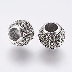 Supports en alliage de perle de strass de style tibétain, rondelle, argent antique, s'adapter pour 1 mm strass; 11.5x10 mm, Trou: 5.5mm(TIBE-F025-29AS)