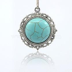Plats ronds pendants de résine d'alliage, argent antique, bleu ciel, 34x30x7mm, Trou: 2mm(TIBE-M001-86)