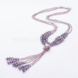"""Perles de verre colliers lariat, avec des perles de rocaille, chardon, 27.6"""" (700 mm)(NJEW-A125-A001)"""