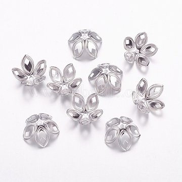 Iron Bead Caps, Platinum Color, about 18mm in diameter, 8mm high, hole: 2mm; about 20pcs/10g(X-E054Y)