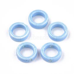 Handmade Porcelain Bead Frames, Bright Glazed Porcelain, Ring, Light Sky Blue, 15x5mm, Hole: 2mm, 9.5mm Inner Diameter(X-PORC-S499-18C)