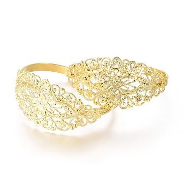 Brass Cuff Bangles, Adjustable Filigree Bracelet Making, Golden, 58mm(X-BJEW-H079-G)