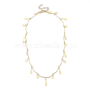 Brass Curved Bar Link Chain Necklaces, with Ring & Teardrop Charms, 304 Stainless Steel Lobster Claw Clasps, Real 18K Gold Plated, 15.75 inches(40cm)(NJEW-JN03072)