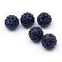 10mm MidnightBlue Round Polymer Clay+Glass Rhinestone Beads(X-RB-Q197-10mm-08)