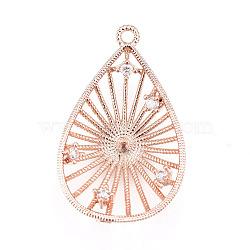 Pendentifs en laiton, avec zircons, pour la moitié de perles percées, goutte , clair, or rose, 23.5x14.5x4.5mm, trou: 1.2 mm; diamètre intérieur: 12 mm; goupille: 1mm(KK-L177-20RG)