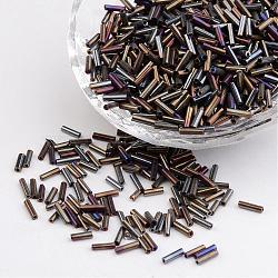 Perles de bugle en verre, Perles de rocaille, grises , longueur d'environ 6 mm , 1.8 mm de diamètre, trou: 0.6 mm; 1250 pcs / 50 g(X-TSDB6MM602AB)