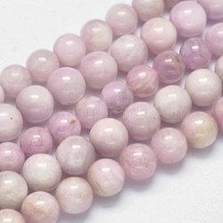 "Brins de perles rondes naturelles en kunzite / spodumène, grade AB +, 6mm, trou: 1mm; environ 63 pcs/chapelet, 15.5""(G-K068-27-6mm)"
