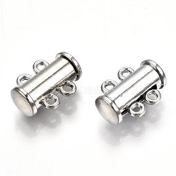 2-Strands Brass Slide Lock Clasps, 4-Hole, Magnetic, Tube, Platinum, 15x10.5x6.5mm, Hole: 1.5mm(X-PALLOY-S140-01P)