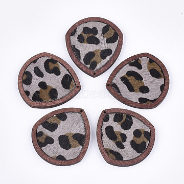 Eco-Friendly Cowhide Leather Pendants, with Dyed Wood, teardrop, with Leopard Print, Thistle, 41x37.5x4mm, Hole: 1.2mm(X-FIND-S301-32C-01)