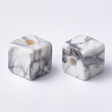Printed Acrylic Beads, Cube, LightGrey, 12x12x12mm, Hole: 3.5mm(MACR-T024-65)