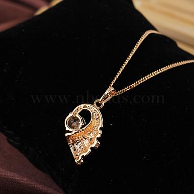 Exquisite Conch Shape Brass Cubic Zirconia Pendant Necklaces(NJEW-EE0001-17G)-4