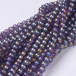 Glass Beads Strands, Round, MediumViolet, AB Color Plated, The beads about 4mm in diameter, hole: 1mm; about 80pcs/strand, about 13inches/strand(X-GR4mm06Y-AB)