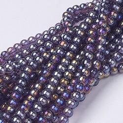 perles de verre brins, arrondir, mediumviolet, ab couleur plaquée, les billes sur 4 mm de diamètre, trou: 1 mm; environ 80 perle / brin, environ13 / brin(X-GR4mm06Y-AB)
