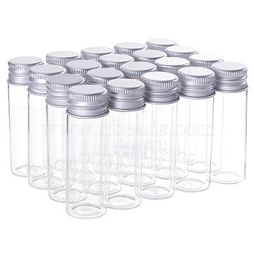des bouteilles en verre, avec bouchon à vis en aluminium et bouchon en silicone, bocal vide, platine, effacer, 6.5x2.2 cm; capacité: 15 ml, 20 pcs / boîte(AJEW-BC0005-37-15ml)