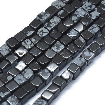 3mm Cube Snowflake Obsidian Beads