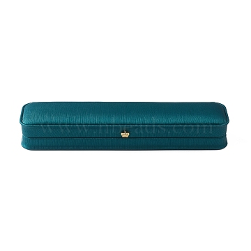 PU Leather Necklace Storage Box, Plush Interior Gift Case, for Chain Jewelry Showcase Necklace Holder, Dark Cyan, 24x5.5x3.8cm(OBOX-D007-07)