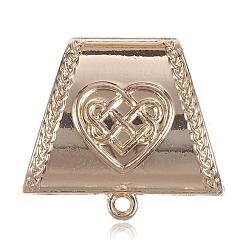 Liens de suspension en alliage, trapèze, perles écharpe en liberté sous caution, or et de lumière, 38x35x16 mm, trou: 3 mm, diamètre intérieur: 12x26 mm(PALLOY-G118-06KCG)