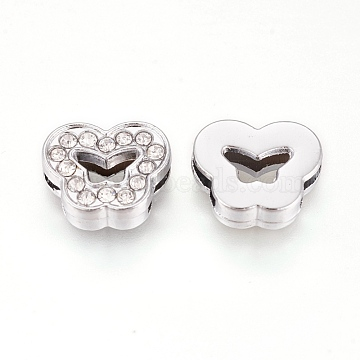 Alloy Rhinestone Slide Charms, Butterfly, Crystal, Platinum, 12x14.5x5mm, Hole: 2x8mm(X-PALLOY-WH0065-24P)