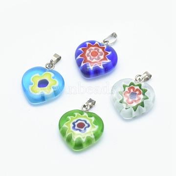 Handmade Millefiori Glass Pendants, Single Flower Design, with Brass Findings, Heart, Platinum, Mixed Color, 17~19x15~16x4~6mm, Hole: 2x4mm(X-LAMP-O016-02A)