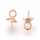 925 Sterling Silver Cup Pearl Bail Pin Pendants(STER-P045-01RG-6mm)-2