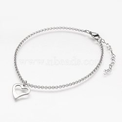 304 Stainless Steel Anklets, with Heart Charm and Rolo Chains, Stainless Steel Color, 9-1/8 inches(23.2cm); 2mm(X-AJEW-AN00199)