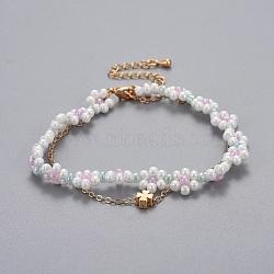 """Bracelets en laiton multi-brins, avec des perles de rocaille en verre et des chaînes de câbles, trèfle, colorées, 13-1/4""""~14-5/8"""" (33.4~37.2cm); 1~1.5mm(BJEW-JB04291-04)"""