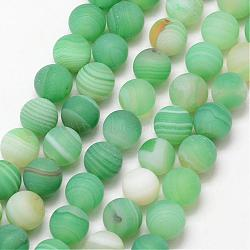 Natural Striped Agate/Banded Agate Bead Strands, Round, Grade A, Frosted, Dyed & Heated, MediumAquamarine, 8mm, Hole: 1mm; about 47pcs/strand, 15inches