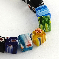 Cube Handmade Millefiori Glass Beads, Mixed Color, 6mm, Hole: 0.5mm, about 65pcs/strand, 15.3 inches(X-LK-R004-70)