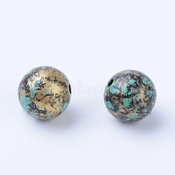 Antique Style Acrylic Beads, Round, Antique Bronze, 11~12mm, Hole: 1.5mm(X-OACR-S013-2012A)