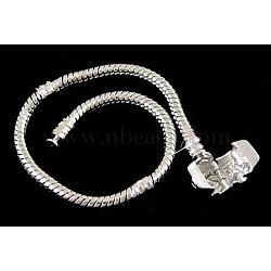"""Laiton bracelets de style européen avec fermoir en laiton, fermoir sans signe, platine, environ 7-1/2"""" (19cm) de long (sans compter la longueur de lcok), épaisseur de 3mm, 2 trou mm(X-PPJ038)"""
