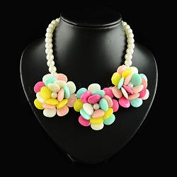 """Colliers déclaration de dossard de résine d'alliage, avec perles en plastique ABS et pinces à homard en fer, or, colorées, 15.7""""(NJEW-S156-09)"""