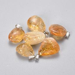 Pendentifs en citrine naturelle, avec les accessoires en laiton, pépites, 21~25x13~17x8~11mm, Trou: 2.5x5.5mm