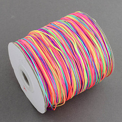 1mm Chinese Knot Macrame Rattail Jewelry Thread Round Nylon Cords, Colorful, 1mm; 300m/roll(NWIR-S003-M)