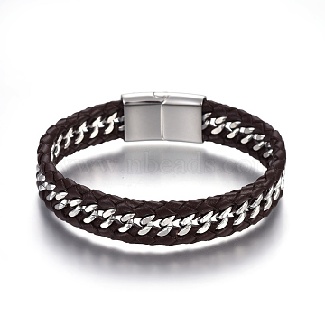 Leather Braided Cord Bracelets, with 304 Stainless Steel Magnetic Clasps, CoconutBrown, 8-5/8inches(22cm); 14mm(BJEW-E352-09A-P)